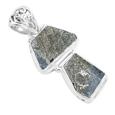 14.47cts natural grey meteorite gibeon 925 sterling silver pendant p19442