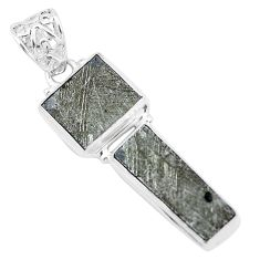 16.54cts natural grey meteorite gibeon 925 sterling silver pendant p19452