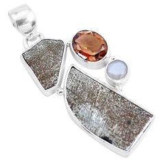 19.82cts natural grey meteorite gibeon smoky topaz 925 silver pendant p19507