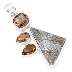 17.42cts natural grey meteorite gibeon smoky topaz 925 silver pendant p19514
