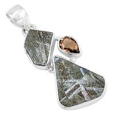 12.62cts natural grey meteorite gibeon smoky topaz 925 silver pendant p19529
