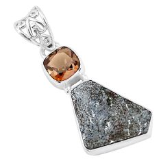 12.60cts natural grey meteorite gibeon smoky topaz 925 silver pendant p19538