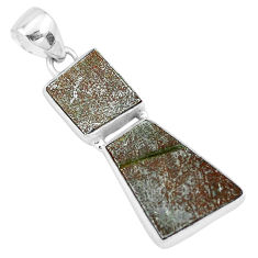 15.02cts natural grey meteorite gibeon 925 sterling silver pendant p19539