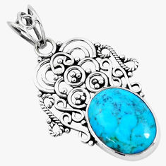 925 sterling silver 8.24cts green arizona mohave turquoise oval pendant p19704