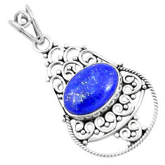 5.82cts natural blue lapis lazuli 925 sterling silver pendant jewelry p19709