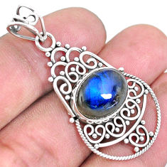 925 sterling silver 6.10cts natural blue labradorite pendant jewelry p19718