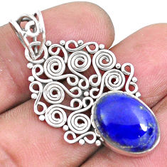 6.36cts natural blue lapis lazuli 925 sterling silver pendant jewelry p19728