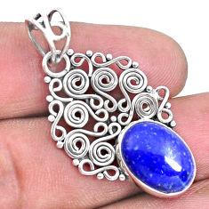 5.54cts natural blue lapis lazuli 925 sterling silver pendant jewelry p19729