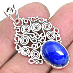 925 sterling silver 6.27cts natural blue lapis lazuli pendant jewelry p19730
