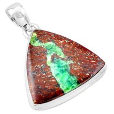 925 sterling silver 17.95cts natural brown boulder chrysoprase pendant p19787