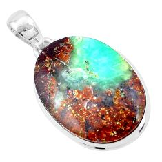 925 silver 22.59cts natural brown boulder chrysoprase oval pendant p19790