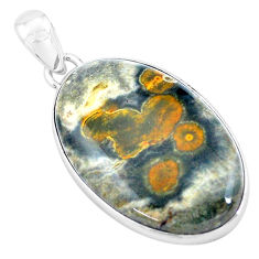 29.06cts natural multi color ocean sea jasper 925 silver pendant p19856