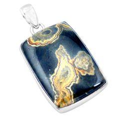 37.13cts natural multi color ocean sea jasper 925 silver pendant p19860