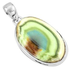 24.38cts natural green imperial jasper 925 sterling silver pendant p19901