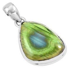 16.73cts natural green imperial jasper 925 sterling silver pendant p19902