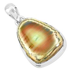 19.72cts natural green imperial jasper 925 sterling silver pendant p19903