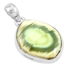18.15cts natural green imperial jasper 925 sterling silver pendant p19905