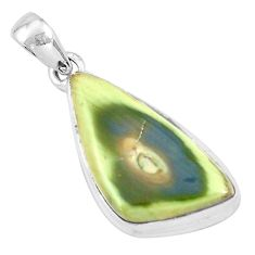 18.15cts natural green imperial jasper fancy 925 sterling silver pendant p19907