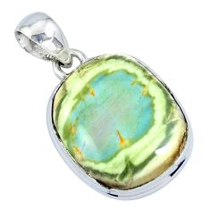 17.57cts natural green imperial jasper 925 sterling silver pendant p19916