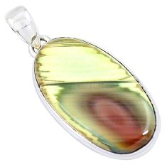 925 sterling silver 21.55cts natural green imperial jasper oval pendant p19917