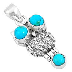 2.68cts green arizona mohave turquoise 925 sterling silver owl pendant p19987