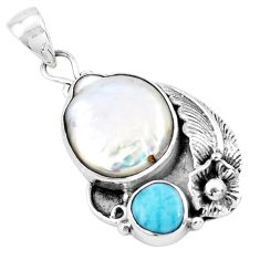 11.45cts natural white pearl larimar 925 sterling silver pendant jewelry p20008