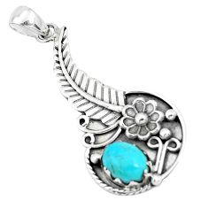 2.36cts green arizona mohave turquoise 925 sterling silver flower pendant p20024