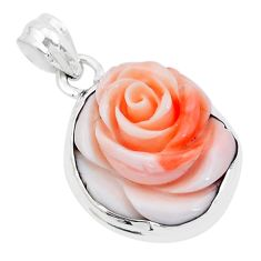 925 sterling silver 13.09cts pink coral flower charm pendant jewelry p20211