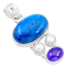 20.05cts natural blue apatite (madagascar) amethyst 925 silver pendant p20311
