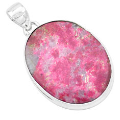 925 silver natural pink thulite (unionite, pink zoisite) oval pendant p20555