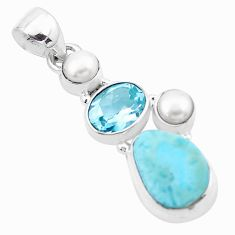 9.47cts natural blue larimar topaz 925 sterling silver pendant jewelry p20701