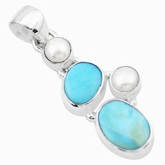 8.06cts natural blue larimar pearl 925 sterling silver pendant jewelry p20706