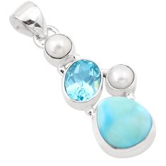 9.04cts natural blue larimar topaz pearl 925 sterling silver pendant p20708