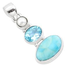 8.80cts natural blue larimar topaz pearl 925 sterling silver pendant p20722