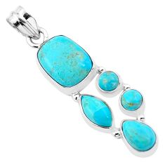 12.83cts green arizona mohave turquoise 925 sterling silver pendant p20747