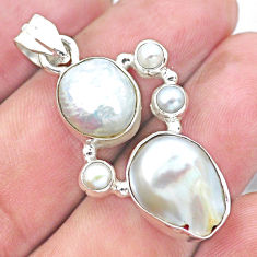 12.40cts natural white pearl 925 sterling silver pendant jewelry p20755
