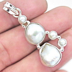 925 sterling silver 12.40cts natural white pearl pendant jewelry p20758