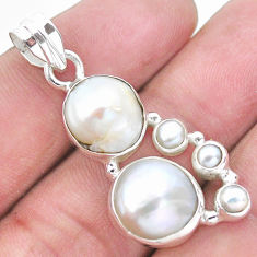 11.27cts natural white pearl 925 sterling silver pendant jewelry p20759