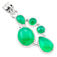 10.02cts natural green chalcedony 925 sterling silver pendant jewelry p20765