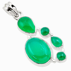 15.97cts natural green chalcedony 925 sterling silver pendant jewelry p20766