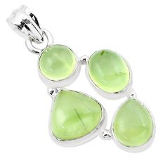 12.64cts natural green prehnite 925 sterling silver pendant jewelry p20785