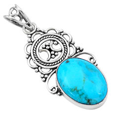 12.22cts blue arizona mohave turquoise 925 sterling silver pendant p20883
