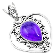 925 sterling silver 6.27cts natural purple amethyst pendant jewelry p20903