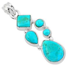 925 sterling silver 10.81cts green arizona mohave turquoise pendant p20965
