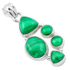 13.77cts natural green malachite (pilot's stone) 925 silver pendant p20967