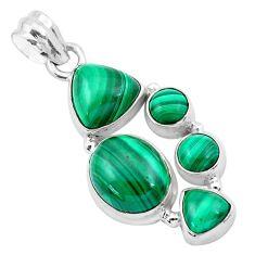 925 silver 15.28cts natural green malachite (pilot's stone) pendant p20968