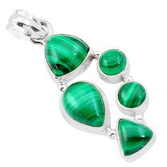 14.20cts natural green malachite (pilot's stone) 925 silver pendant p20972