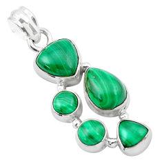 925 silver 11.02cts natural green malachite (pilot's stone) pendant p20974
