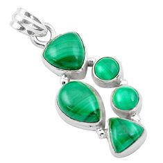 11.62cts natural green malachite (pilot's stone) 925 silver pendant p20976
