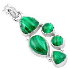 925 silver 11.62cts natural green malachite (pilot's stone) pear pendant p20978